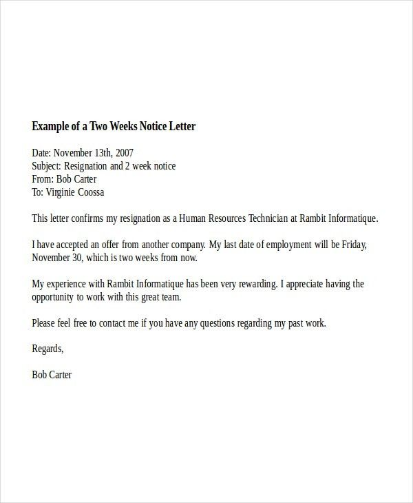 9+ Two Weeks Notice Letter Examples | Free & Premium Templates