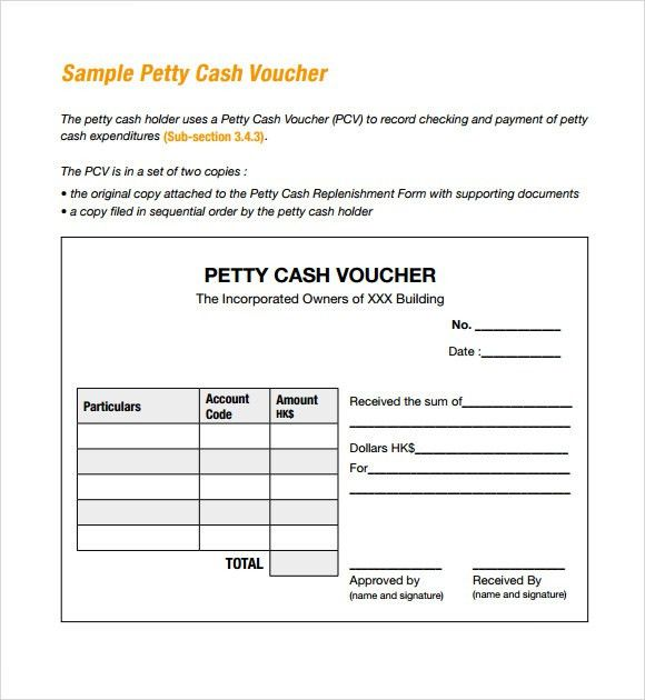 Sample Petty Cash Voucher Template - 9+ Free Documents in PDF ...