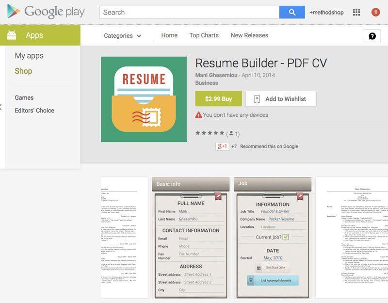 resume builder app resume builder pro 5 minutes cv maker