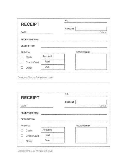 Blank Receipt Template - Blank Receipts | nuTemplates