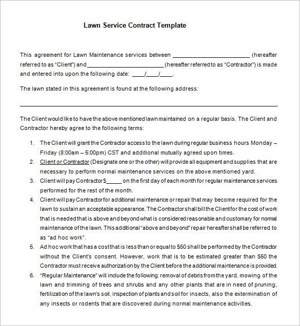 service agreement terms of service template sample maintence cover ...