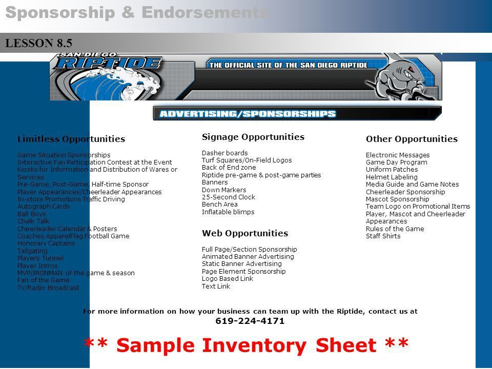 Lesson 8.1 – Sponsorship Copyright © 2014 by Sports Career ...