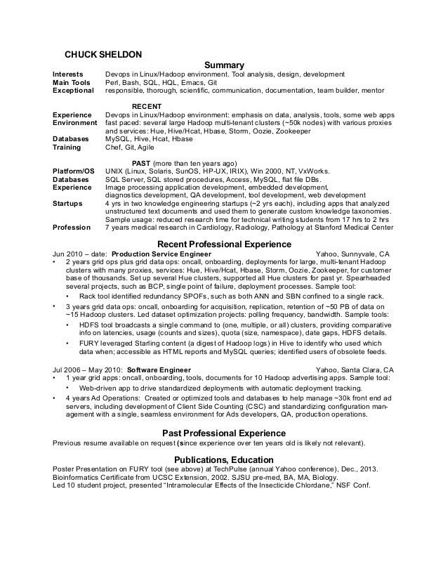 Chuck Sheldon's resume