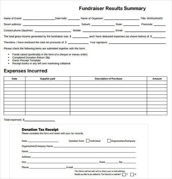 Sample Fundraiser Receipt Template - 9+ Free Documents in PDF, Word