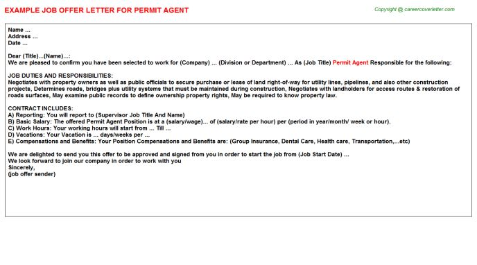 Permit Agent Offer Letter