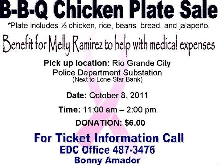 BBQ Chicken Plate Sale - October 8, 2011 Benefit for Melly Ramirez ...