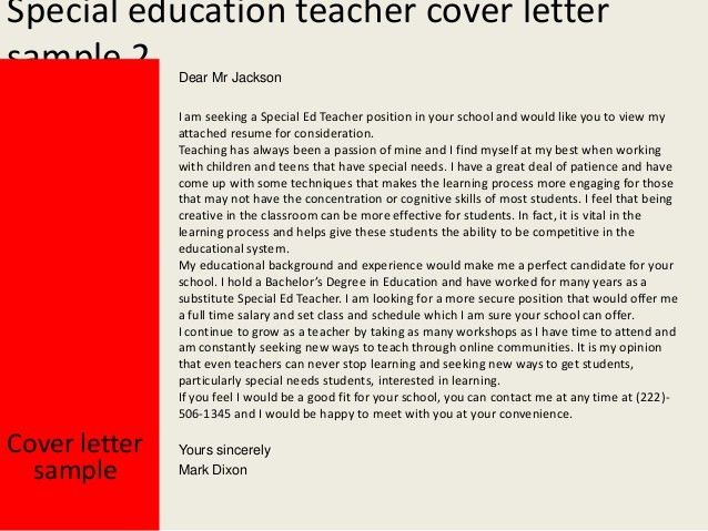 Special Education Cover Letter Teacher Position Elementary Resume ...