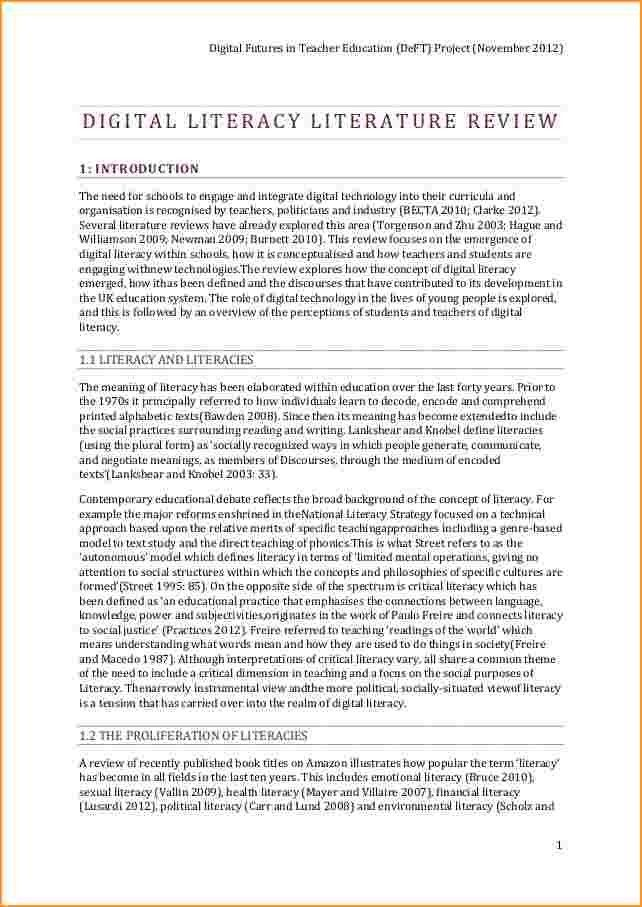 literature review example | Questionnaire Template