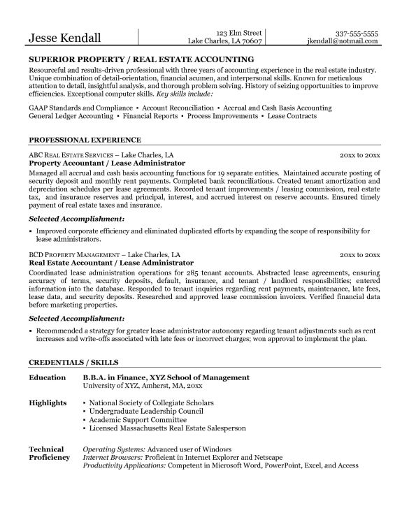 Simple Superior Property Real Estate Agent Resume and Accounting ...