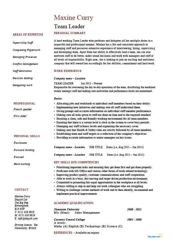 Leadership Resume Examples | Template idea
