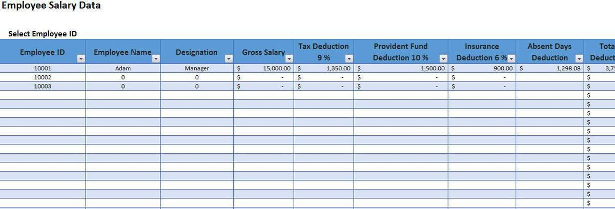 Employee Salary Slip Format Excel with Payroll Tracker | Template124