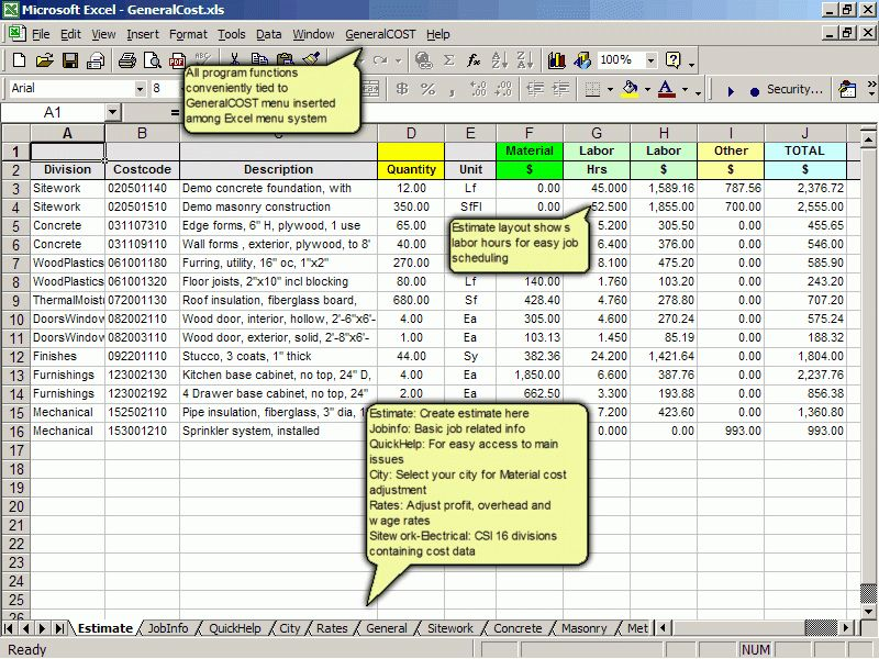 General Cost Estimating. Estimate Construction Cost In Excel