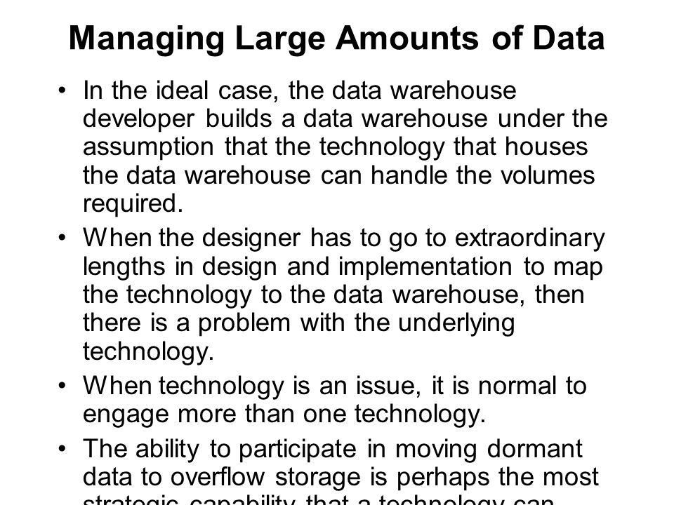 Granularity in the Data Warehouse Chapter 4. Raw Estimates The ...