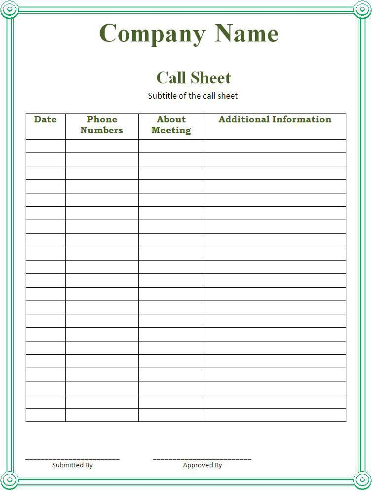 Call Sheet Template - Word Excel PDF
