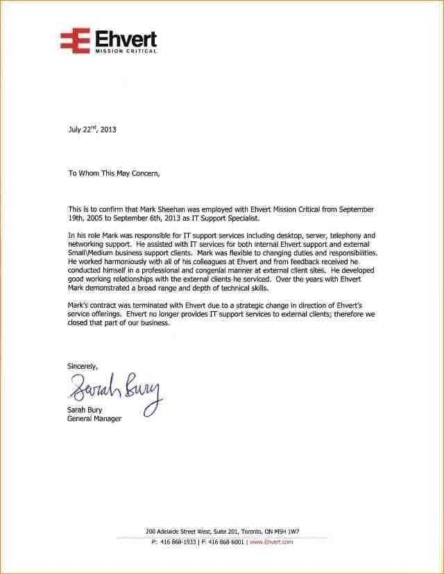 Employer Reference Letter Sample - Cover Letter Templates