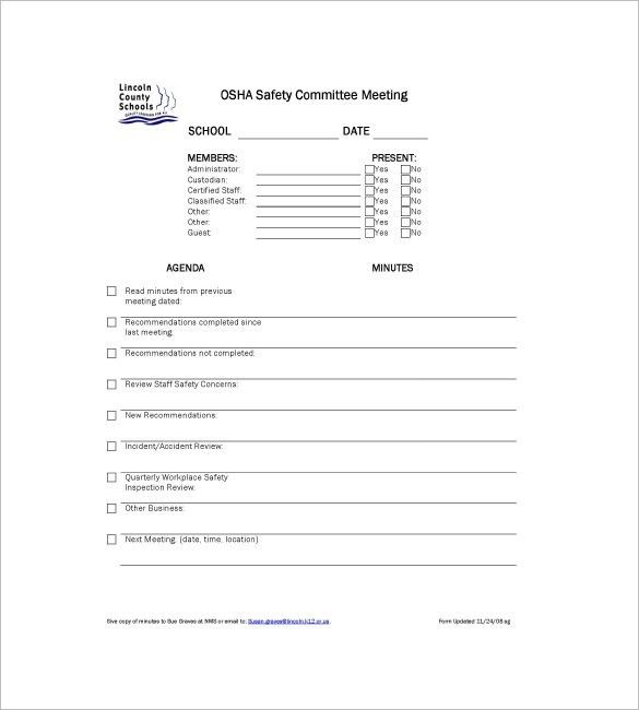 Committee Meeting Minutes Templates – 8+ Free Sample, Example ...