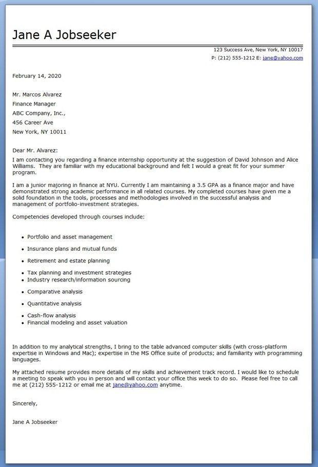 Internship Cover Letter inside Cover Letter For Internship ...