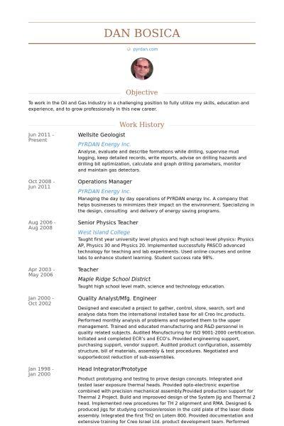 Geologist Resume samples - VisualCV resume samples database