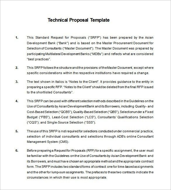 Technical Proposal Template – 13+ Free Sample, Example, Format ...