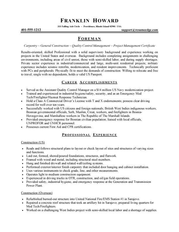 Construction Carpenter Cover Letter
