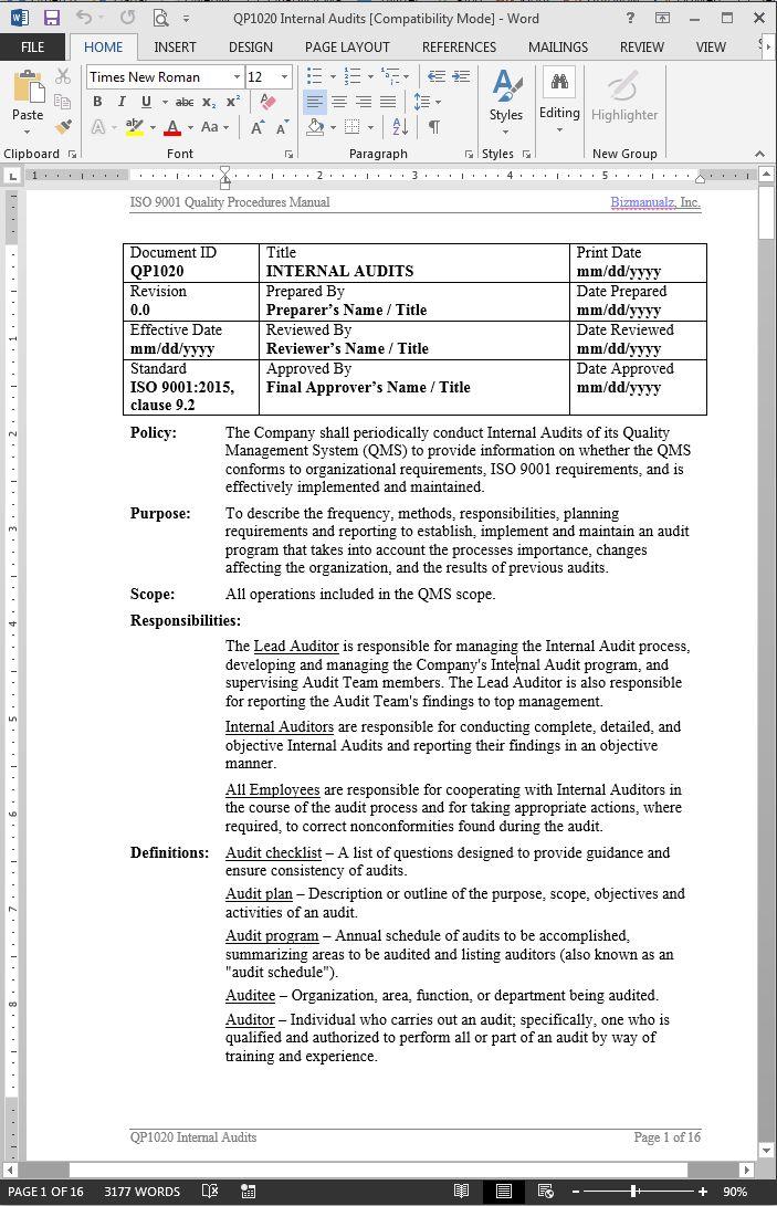 Internal Audit Procedure ISO 9001 2015