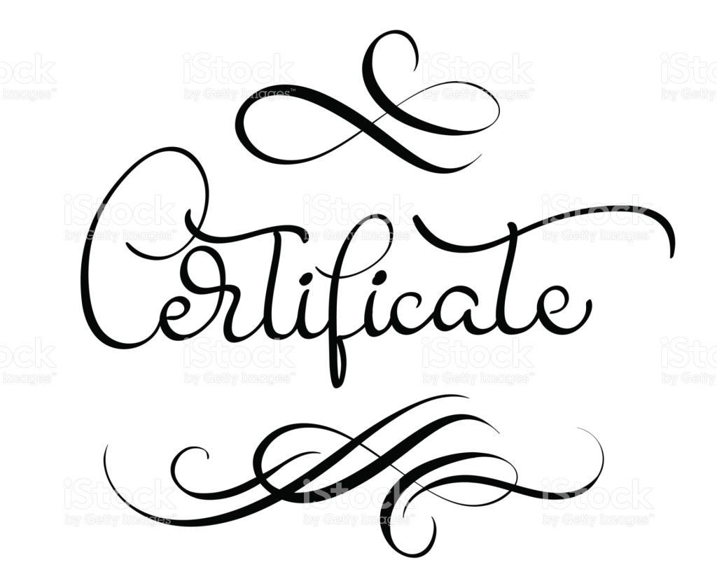 Certificate Word With Flourish On White Background Calligraphy ...