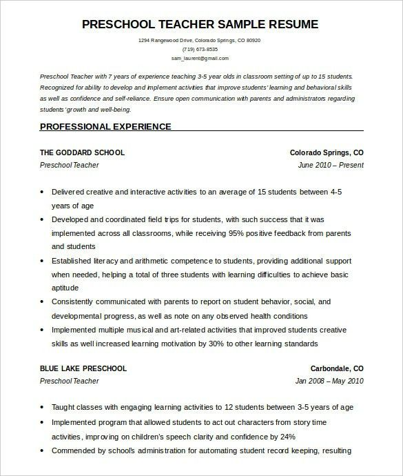 Teacher Resume Samples 2016 Experience Resumes Teacher Resume ...