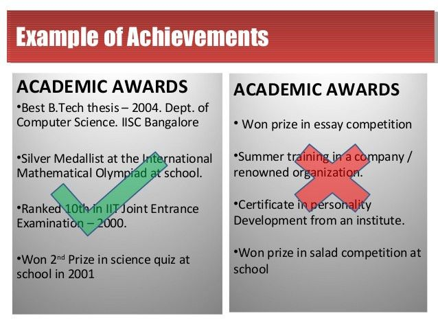 Academic Achievements For Resume #960