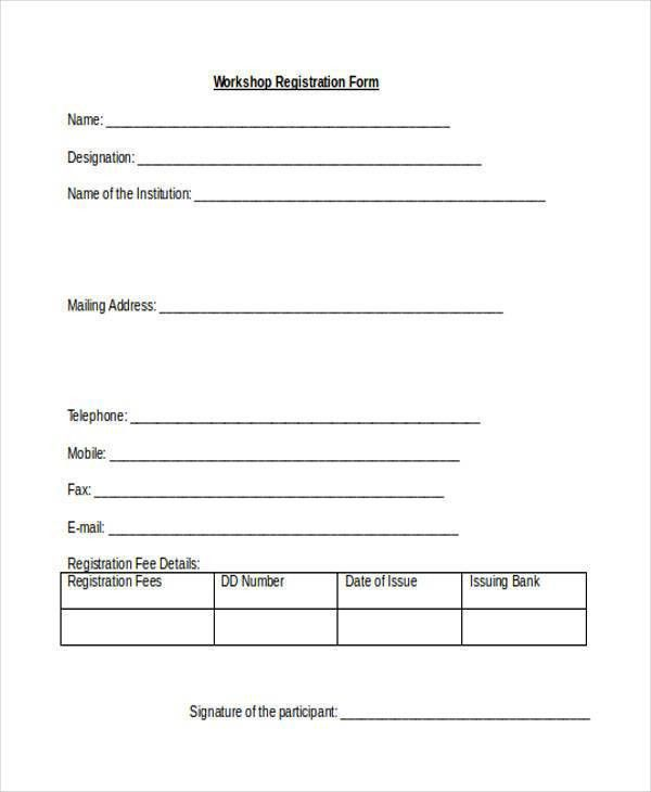 Registration Forms in Word