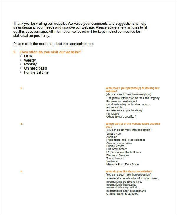 3+ Research Questionnaire Examples, Samples