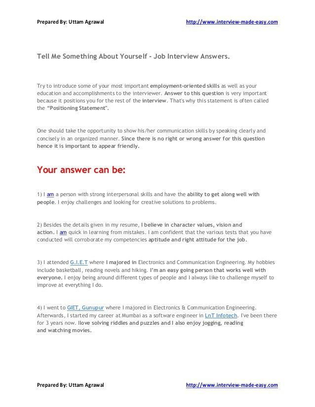 Tell Me Something About Yourself - Job Interview Answers.