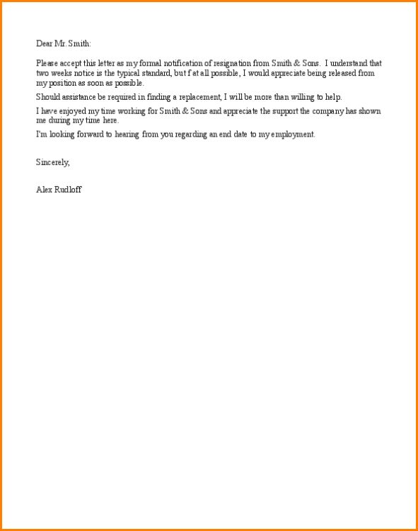6+ resignation letter samples short notice | writable calendar