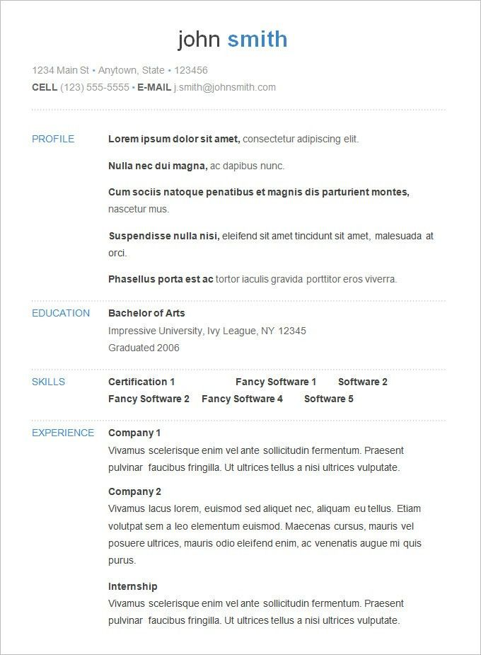 Fanciful Sample Simple Resume 11 Sample Resume Templates Simple ...