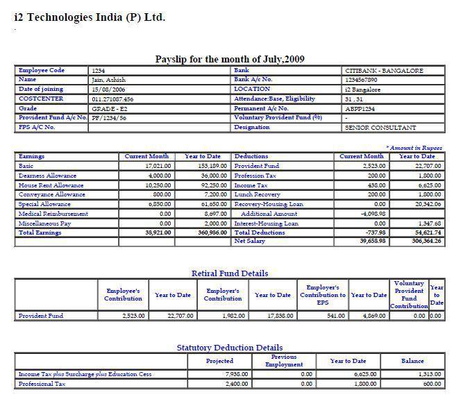 JDA i2 Payslip and Salary structure