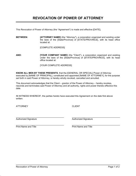 Revocation of Power of Attorney - Template & Sample Form | Biztree.com