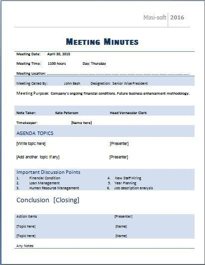 MS Word Formal Meeting Minutes Template | Word & Excel Templates