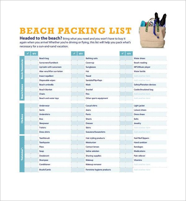 Sample Vacation Checklist - 7+ Documents in PDF, PSD