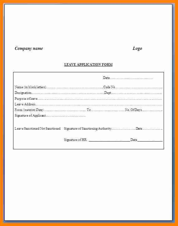 9+ simple leave form format | it cover letter