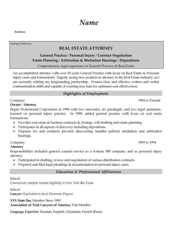 Estate Attorney Resume Example