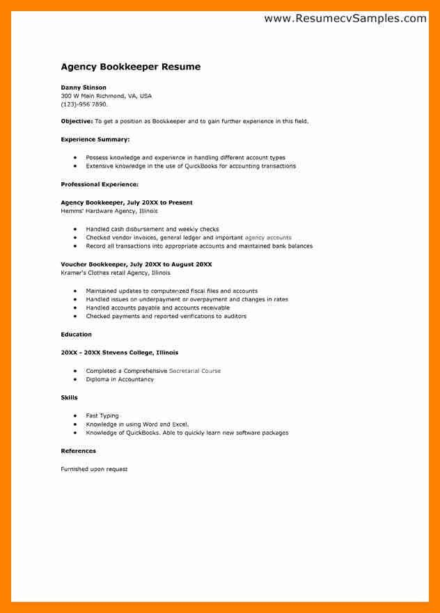 sample resume bookkeeper resume cv cover letter others best simple ...