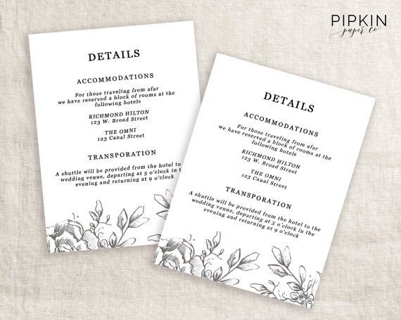 Wedding Details Card Template Printable Wedding Invitation