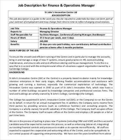 commercial manager job description catering manager cv template