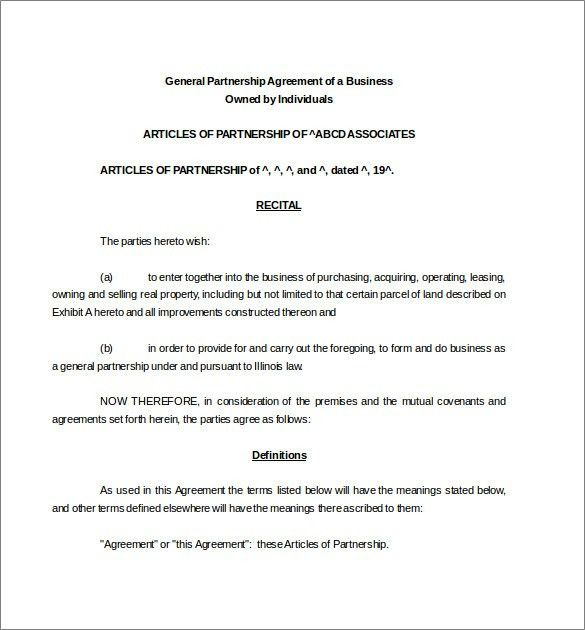 Partnership Agreement Template -11+ Free Word, PDF Document ...