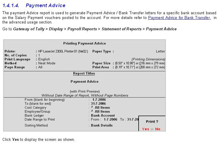 e- Payment Advice in Payroll Report in Tally9 Accounting Software