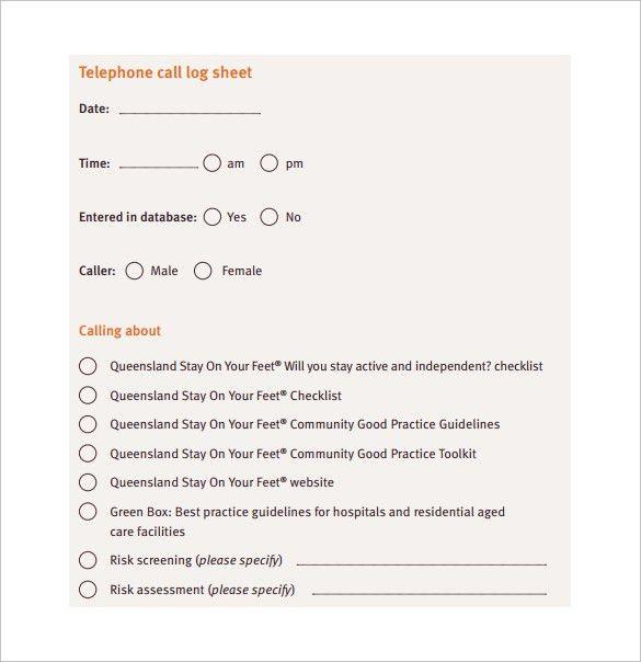 Sample Phone Log Template. Telephone Call Log Sheet Free Pdf ...