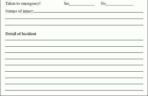 Incident Report Form Sample | E Travel Week