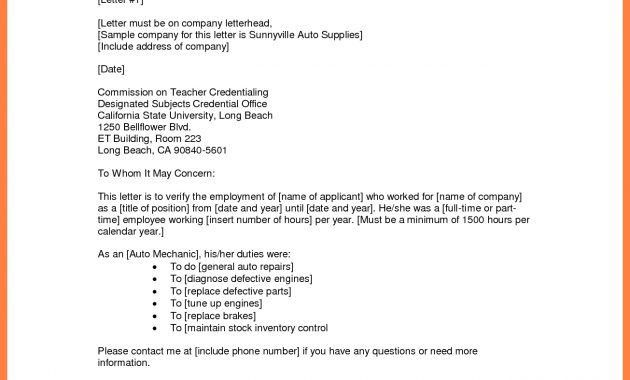 Sample Employment Verification Letter From Previous Employer ...