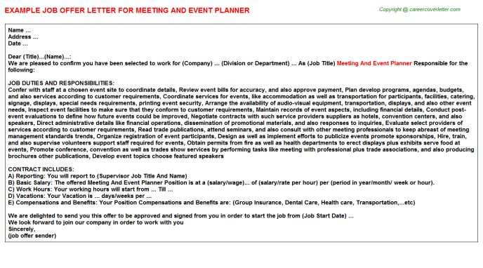 Meeting And Event Planner Offer Letter