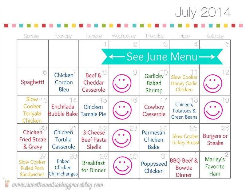 Meal Calendar Template. 20 Free Menu Planner Printables | Fab N ..