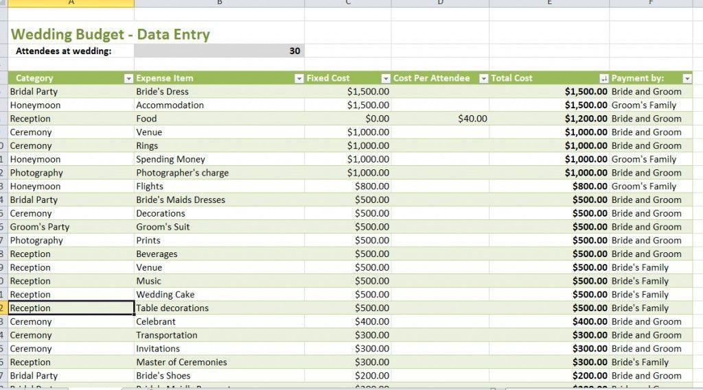 Wedding Budget Data - DIY Wedding • #31696
